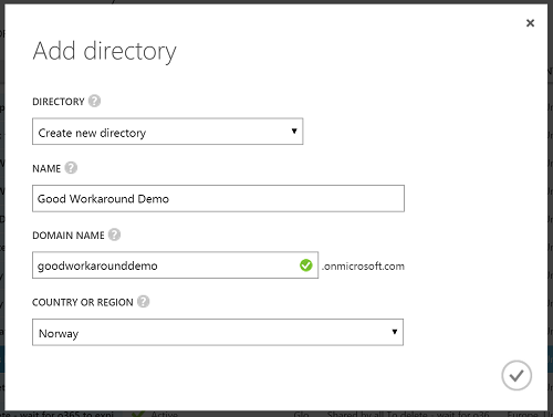 Menu to create Azure AD